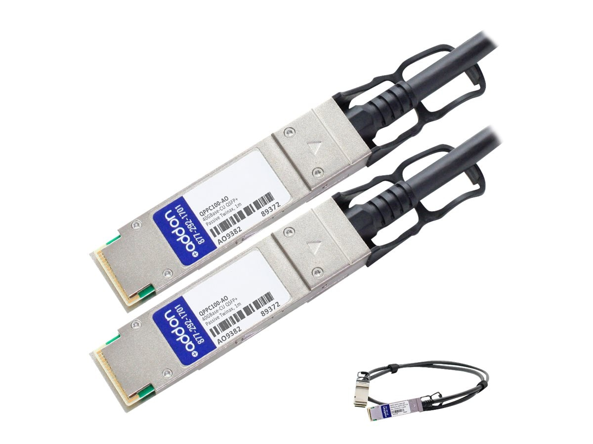 ACP-EP 40GBase-CU QSFP+ to QSFP+ Direct Attach Passive Twinax Cable, 1m, QPPC100-AO