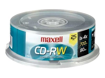 Maxell 4x 700MB CD-RW Media (25-pack Spindle), 630026, 6353886, CD Media