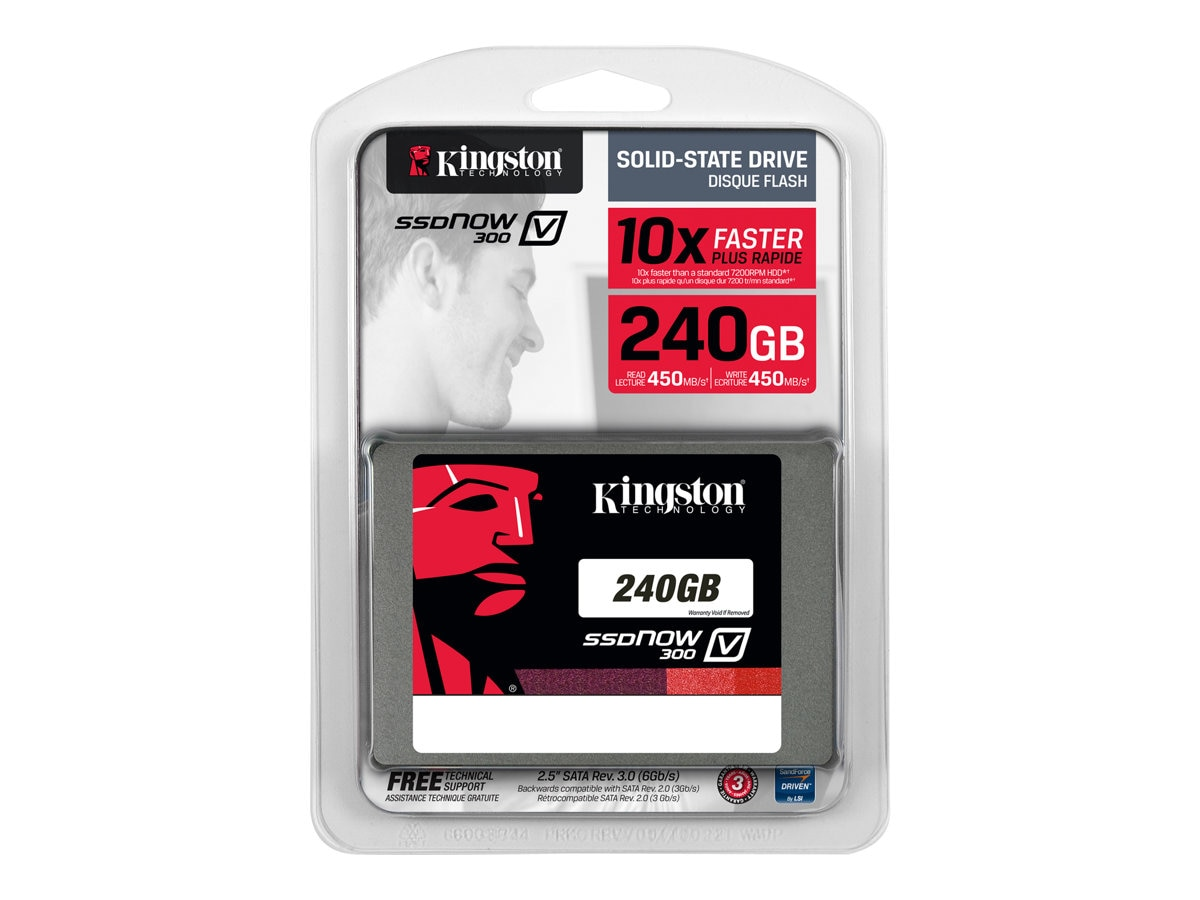 Kingston 240GB SSDNow V300 SATA 6Gb s 2.5 Internal Solid State Drive, SV300S37A/240G