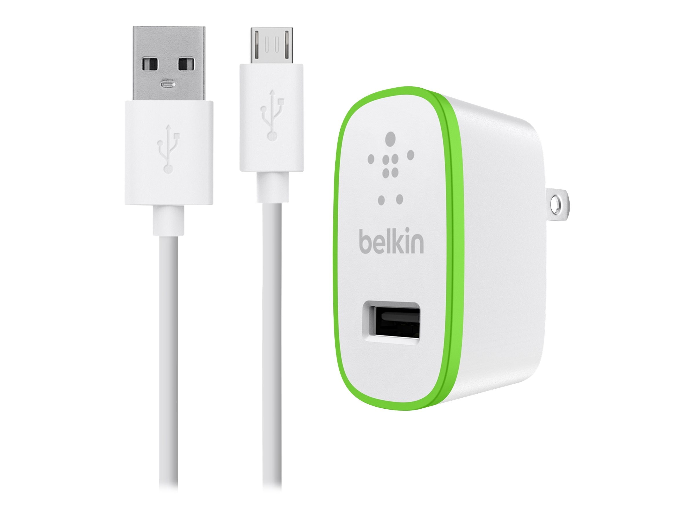 Belkin Universal Home Charger, Micro-USB Charge Sync Cable, 10W 2.1A, White