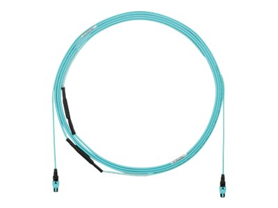Panduit MPO-MPO 50 125 OM3 Multimode Plenum Fiber Patch Cable, Aqua, 50ft, FXUYP7E7EAAF050, 30614468, Cables