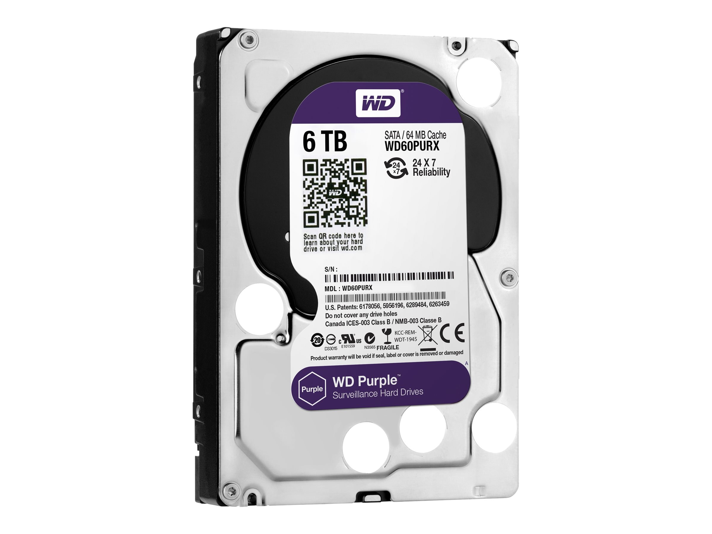 WD 6TB WD Purple SATA 6Gb s 3.5 Internal Hard Drive - 64MB Cache, WD60PURX
