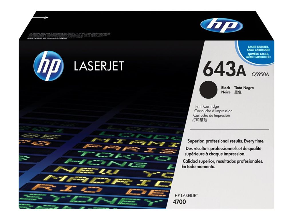 HP 643A (Q5950A) Black Original LaserJet Toner Cartridge for HP Color LaserJet 4700 Series Printers, Q5950A, 6127678, Toner and Imaging Components