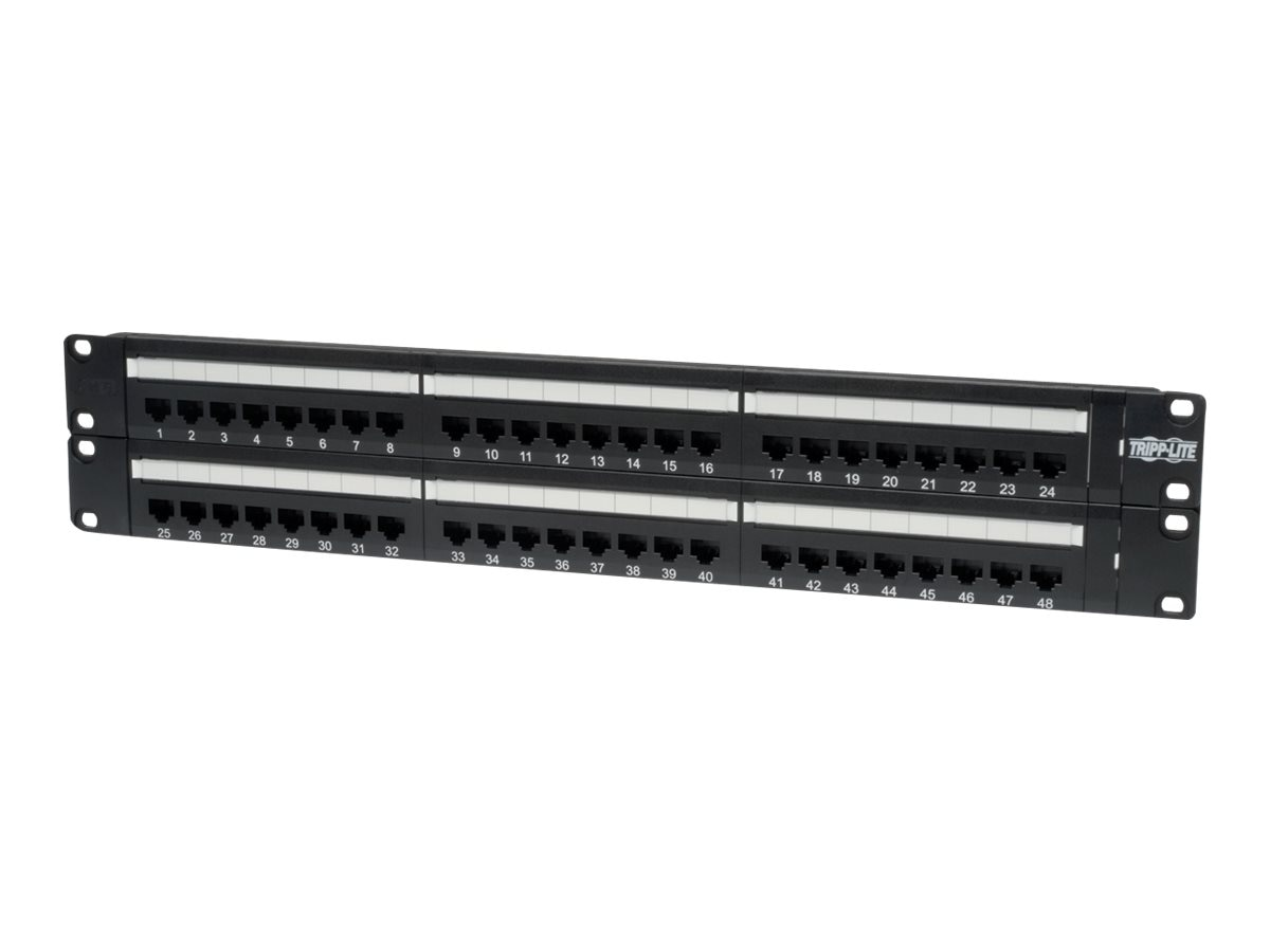 Tripp Lite 48-Port Cat6 Cat5 Patch Panel Rackmount 110 Punch Down RJ45 Ethernet 1URM 568B, N252-048
