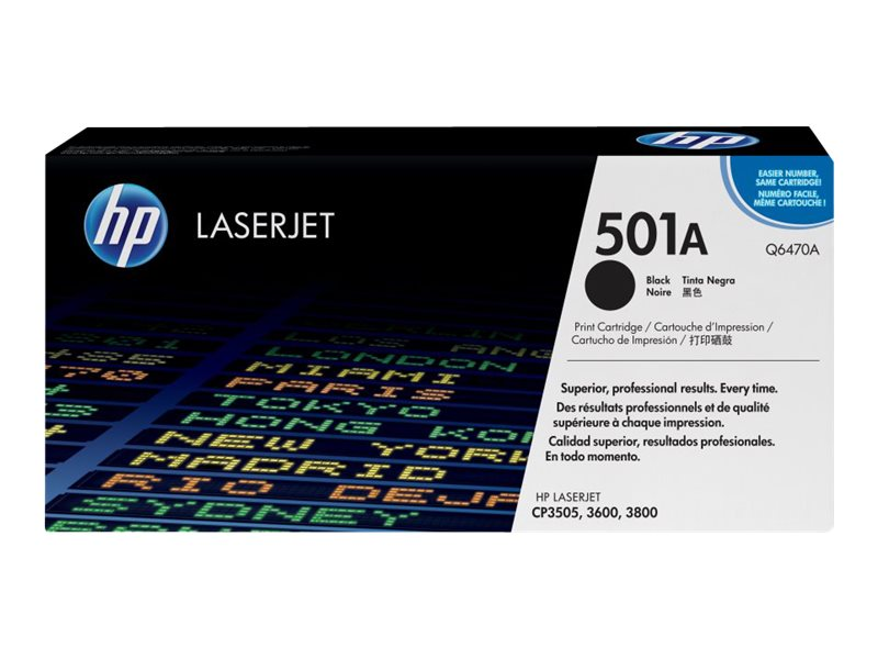 HP 501A (Q6470A) Black Original LaserJet Toner Cartridge for HP Color LaserJet 3600 & 3800 Series, Q6470A, 6133533, Toner and Imaging Components