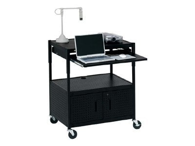 Bretford Manufacturing Cabinet Projector Cart with Electrical, Black