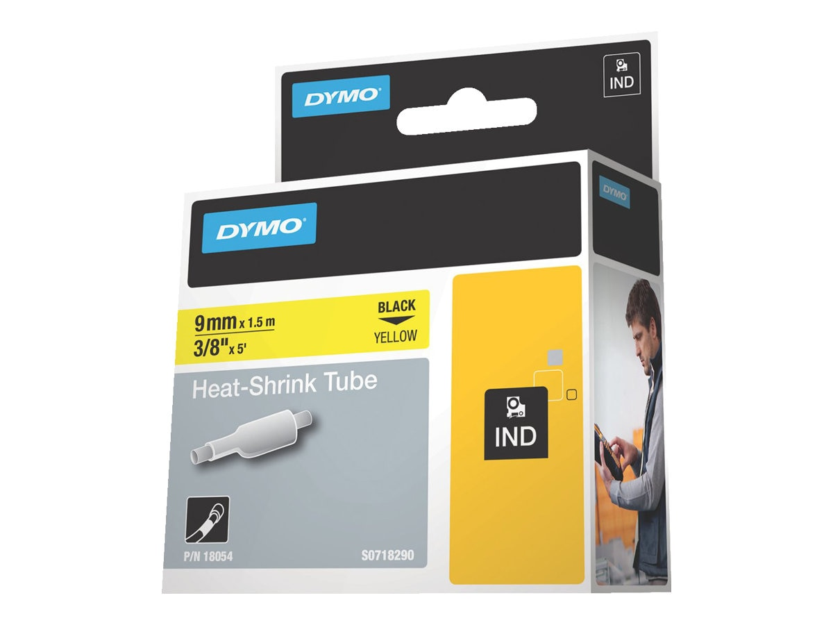 DYMO 3 8 Heat Shrink Tubing for RhinoPRO 5000, Yellow, 18054, 5981611, Paper, Labels & Other Print Media
