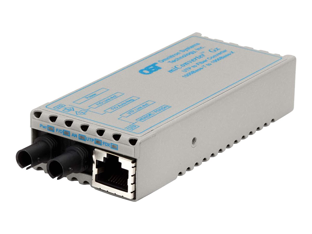 Omnitron MiConv 1000BT RJ45 To 1000B-LX ST SM 1310NM 12KM US Power, 1201-1-1, 9975269, Network Transceivers