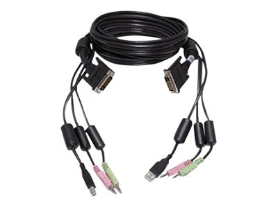 Avocent KVM Cable for USB Keyboard and Mouse with Dual Head DVI-I Video Audio and CAC, 6ft