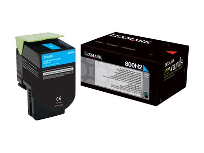 Lexmark 800H2 Cyan High Yield Toner Cartridge, 80C0H20