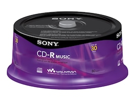 Sony CDR-Audio Media (30-pack Spindle), 30CRM80SP, 15320525, CD Media
