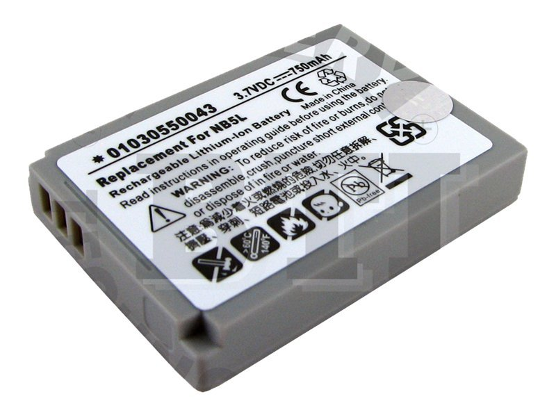 BTI Battery, Lithium-Ion, 3.7 Volts, 750mAh, for Digital Camera, BTI-CNNB5L, 8442989, Batteries - Camera