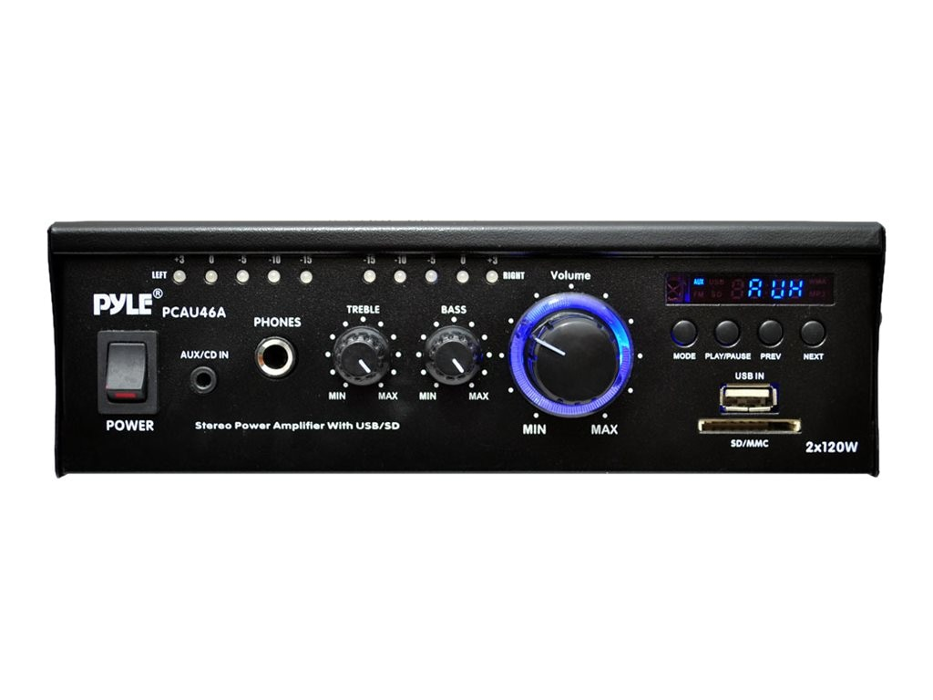 Pyle Mini 2x120 Watt Stereo Power Amplifier with USB SD Card Readers, AUX, CD Input, LED, PCAU46A