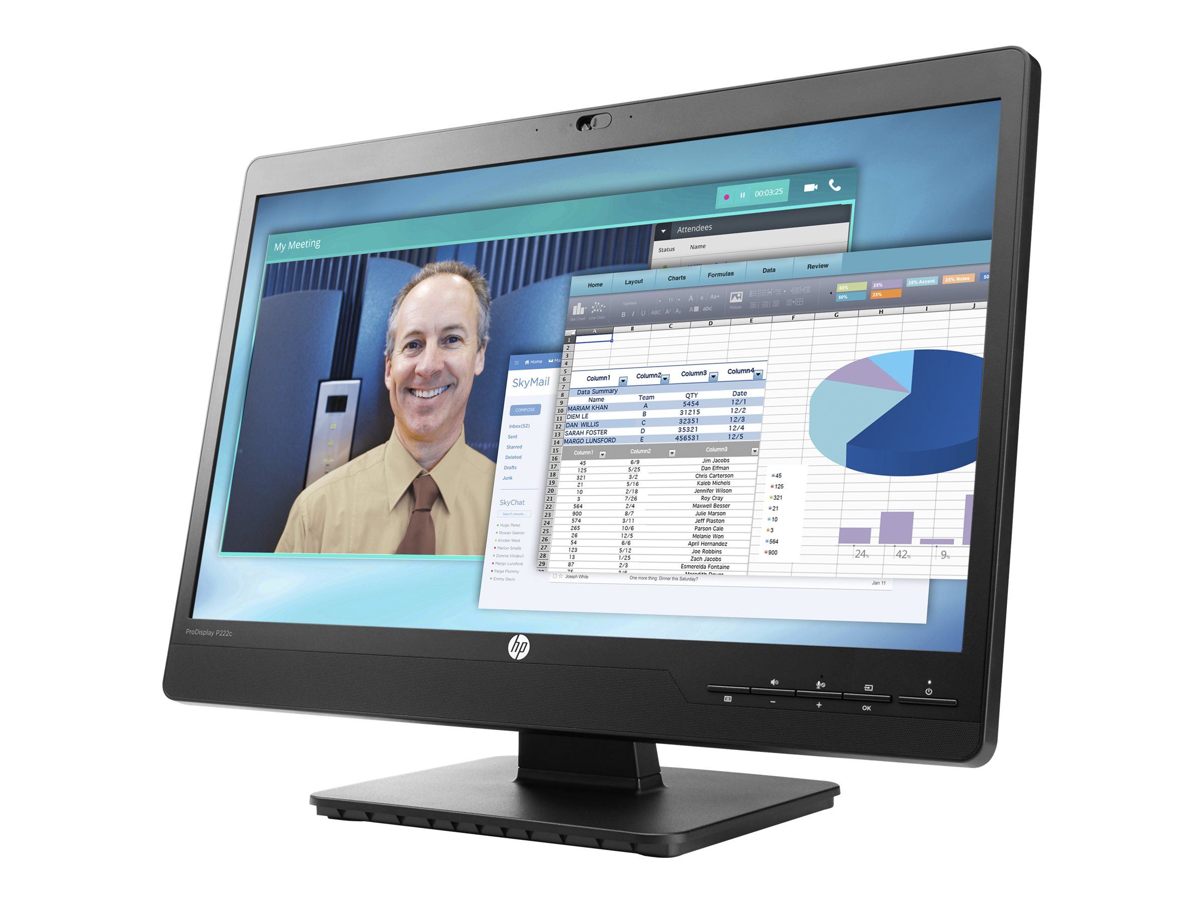 HP 21.5 P222C Full HD LED-LCD Monitor with Webcam, Black, L4J08A8#ABA