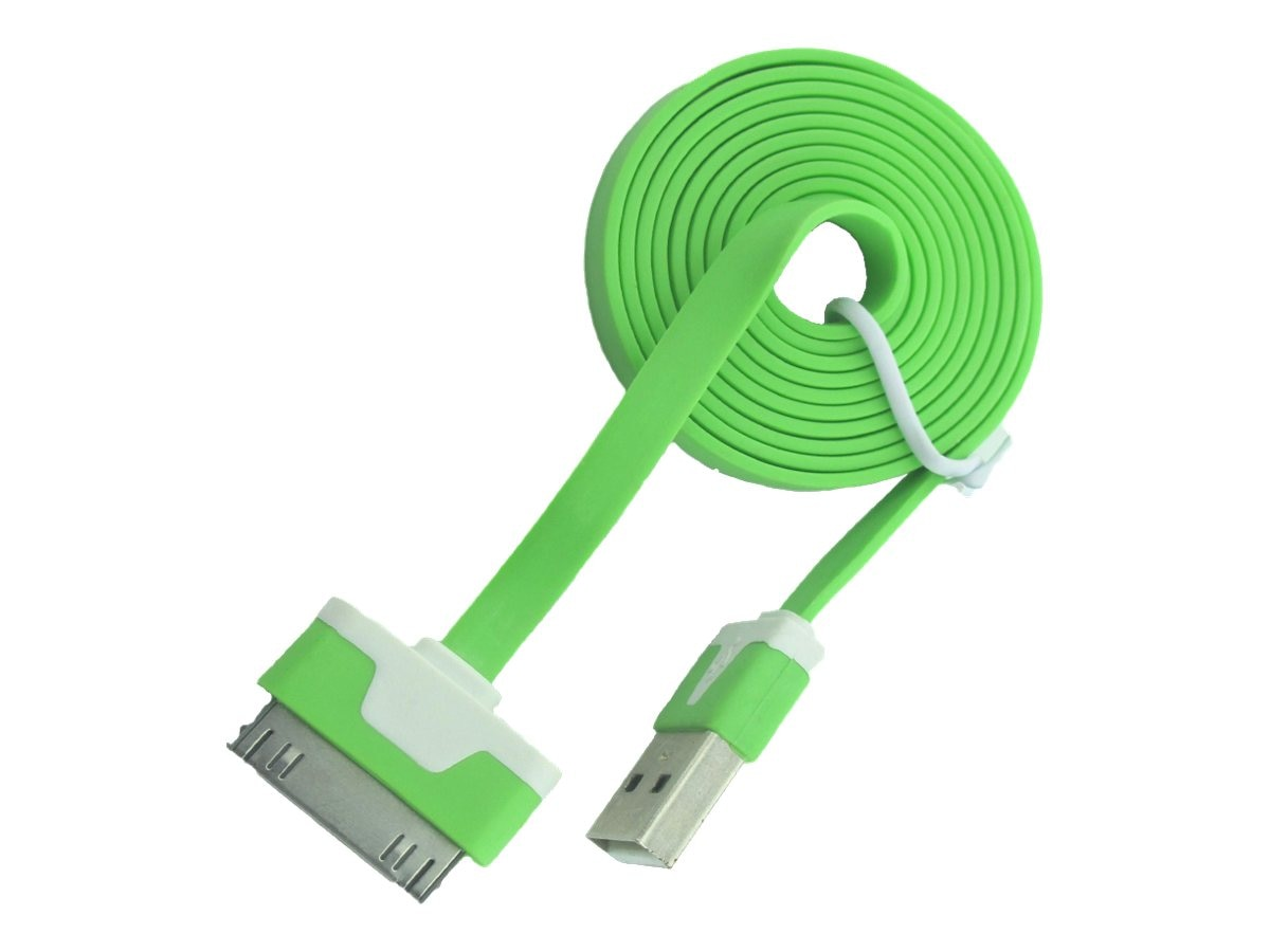 4Xem 30-pin Dock Connector to USB Type A M M Flat Cable, Green, 3ft, 4XI4CBLFLTGN