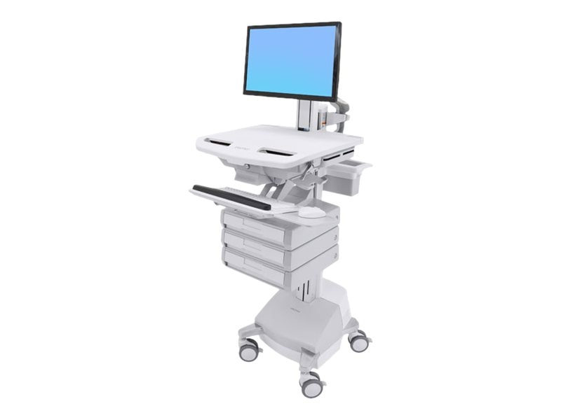 Ergotron StyleView Cart with LCD Pivot, SLA Powered, 3 Drawers, SV44-1331-1, 31498315, Computer Carts - Medical