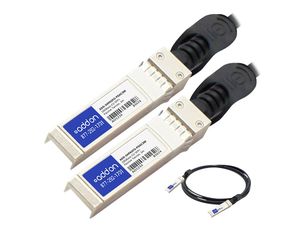 ACP-EP HP and Force10 Networks compatible 10GBase-CU SFP+ Transceiver Dual-OEM Cable, 3m, ADD-SHPASFO-PDAC3M