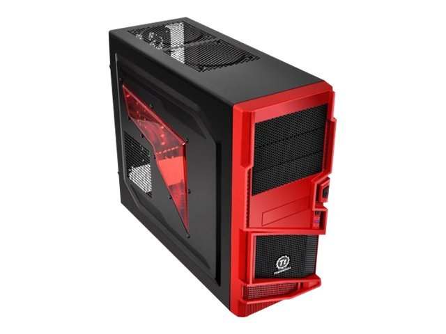 Thermaltake Chassis, Commander MS-I Epic Edition Mid Tower, ATX, 3x5.25, 5x3.5, 7xSlots, Side Window,Black Red, VN400A1W2N-B, 13822089, Cases - Systems/Servers