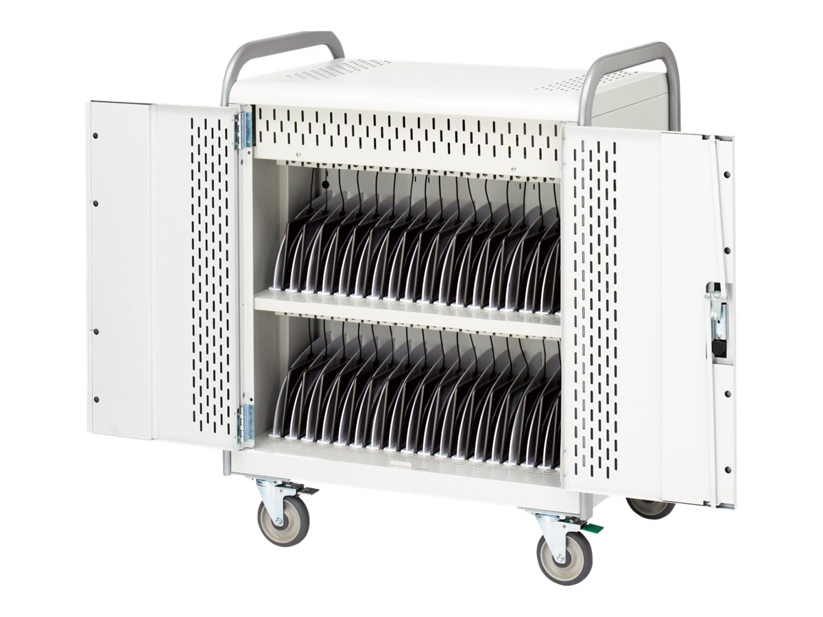 Bretford Manufacturing 36-Unit Tablet Storage Cart with Electric, Removable Back Panel, 5in Casters
