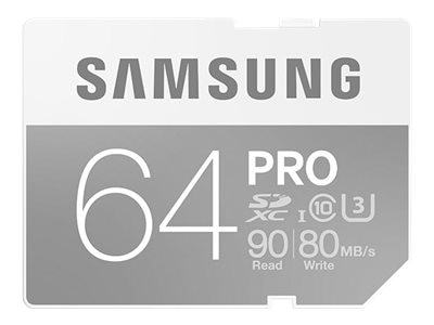 Samsung 64GB Pro SDXC U3 Flash Memory Card, Class 10, MB-SG64E/AM, 30546426, Memory - Flash