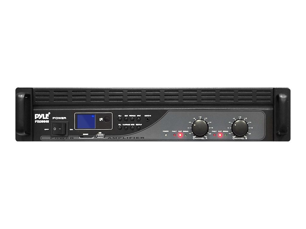 Pyle 3000 Watt Power Amplifier with USB SD Readers, LCD Digital Display & Built-In Crossover, PTA3004U, 16549479, Stereo Components