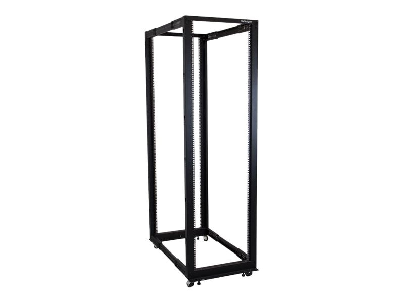 StarTech.com Adjustable Depth Open Frame 42U 4-Post Server Rack Cabinet, Black