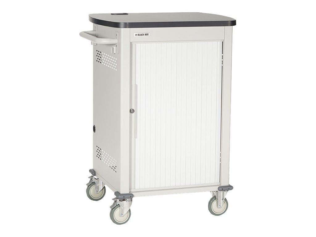 Black Box 36-Device Deluxe Charging Cart - Single Frame, Sliding Door, with Baskets