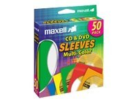 Maxell Multi-Color CD DVD Sleeves (50-pack), 190134, 9734182, Media Storage Cases