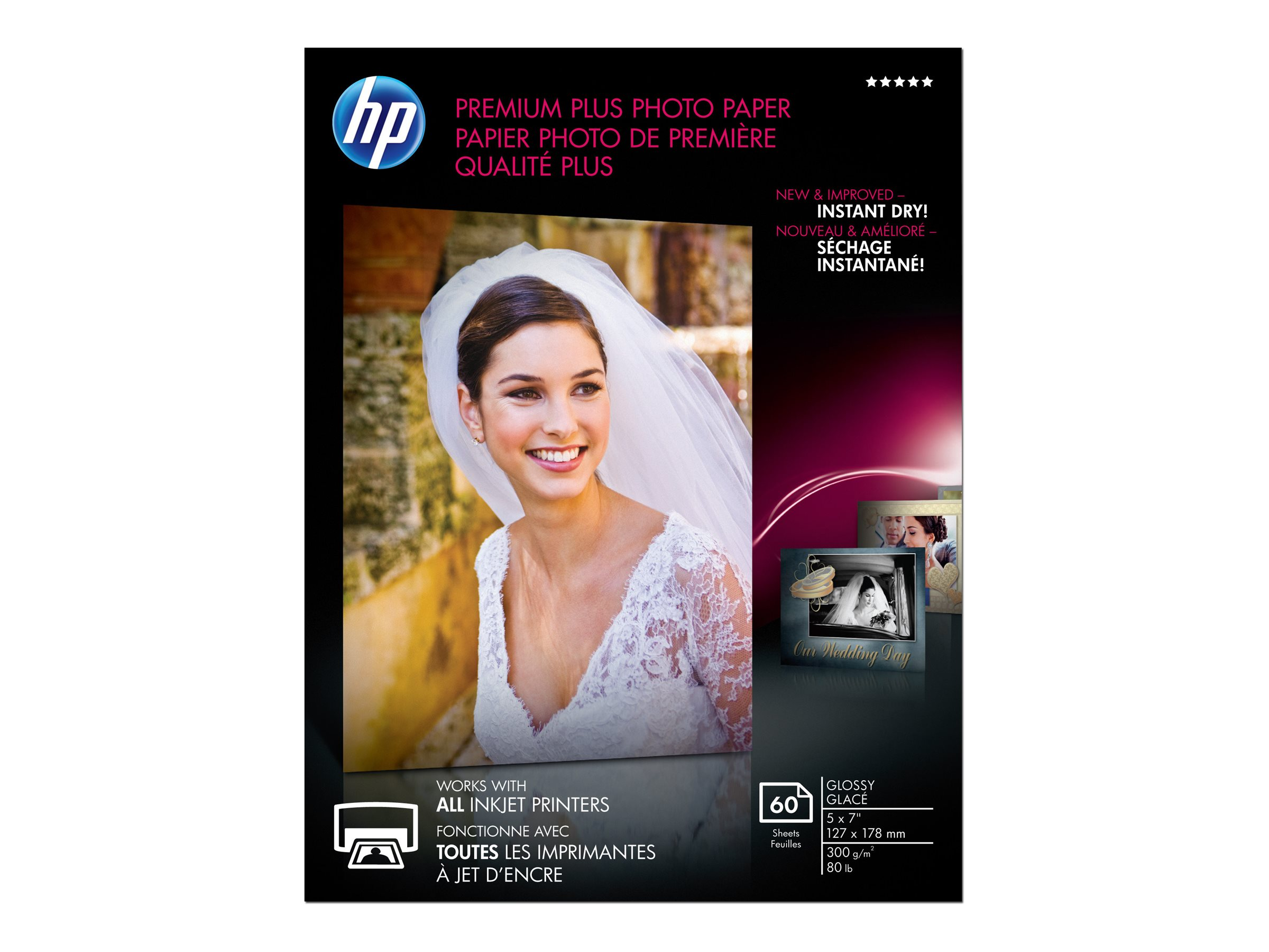 HP 5 x 7 Premium Plus Glossy Photo Paper (60 Sheets), CR669A