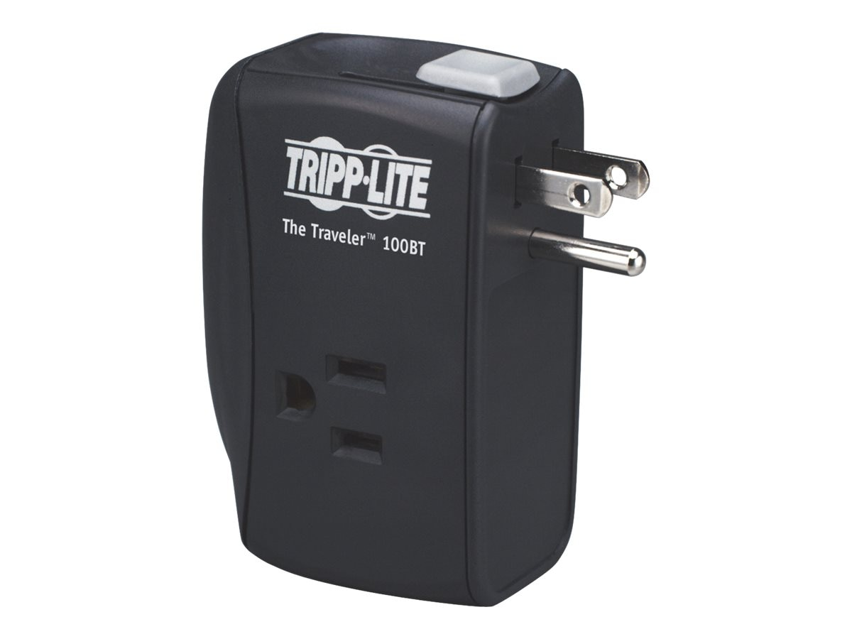 Tripp Lite Protect It! Surge (2) Outlet (2 Transformers) for Laptop Dir Plug 1050 Joules, TRAVELER100BT, 5973910, Surge Suppressors