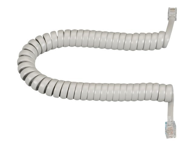 Black Box Modular Coiled Handset Cord, Light Gray, 6ft, EJ303-0006, 8033229, Cables