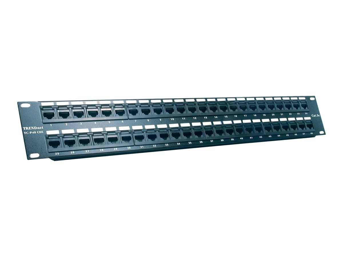TRENDnet 48-Port CAT 5e RJ-45 UTP 19in Rack Mount Patch Panel, TC-P48C5E, 5246771, Patch Panels
