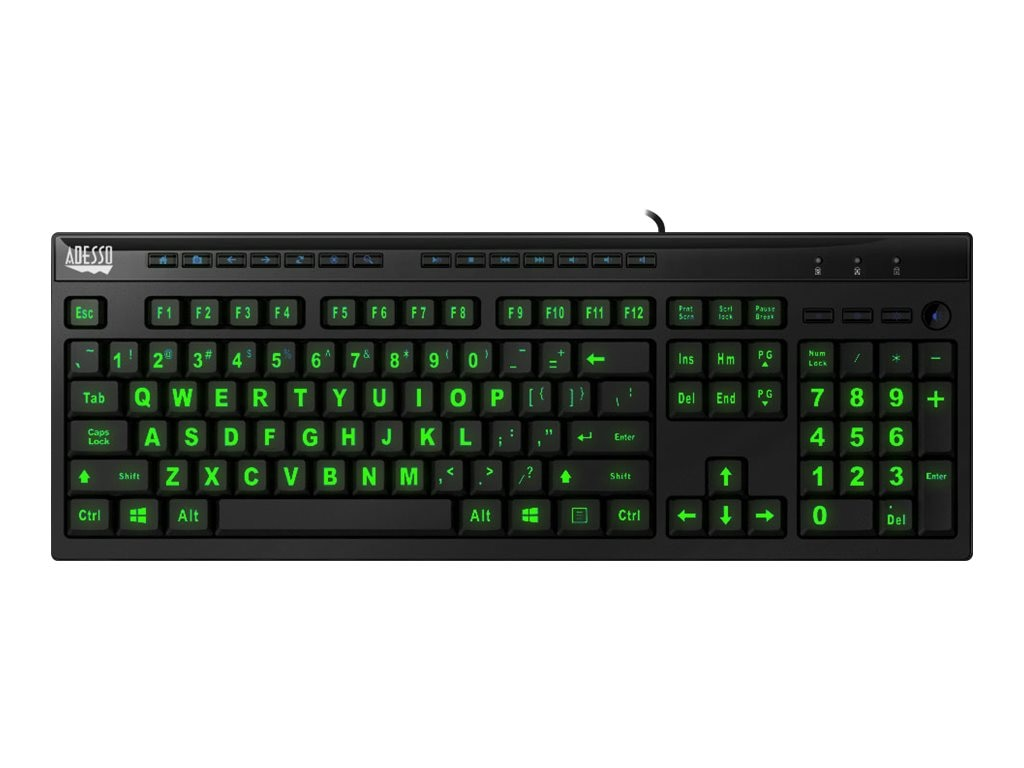 Adesso 3-Color Illuminated Multimedia Desktop USB Keyboard w  Extra Large Keycap Lettering, AKB-130EB
