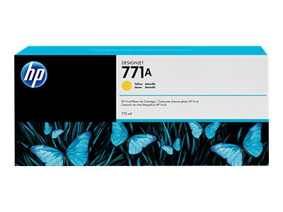 HP 771A 775-ml Yellow Designjet Ink Cartridge, B6Y18A, 15709186, Ink Cartridges & Ink Refill Kits