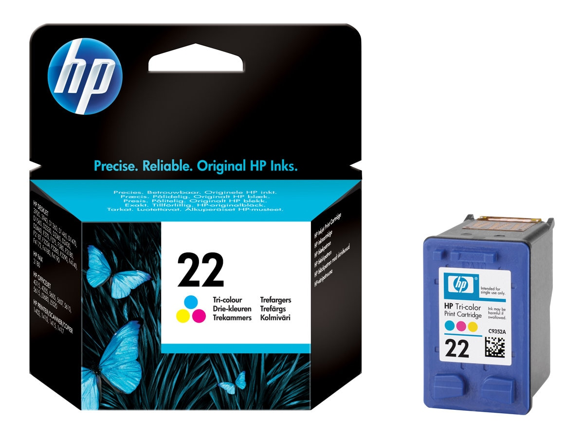 HP 22 (C9352AN) Tri-color Original Ink Cartridge, C9352AN#140, 6489441, Ink Cartridges & Ink Refill Kits