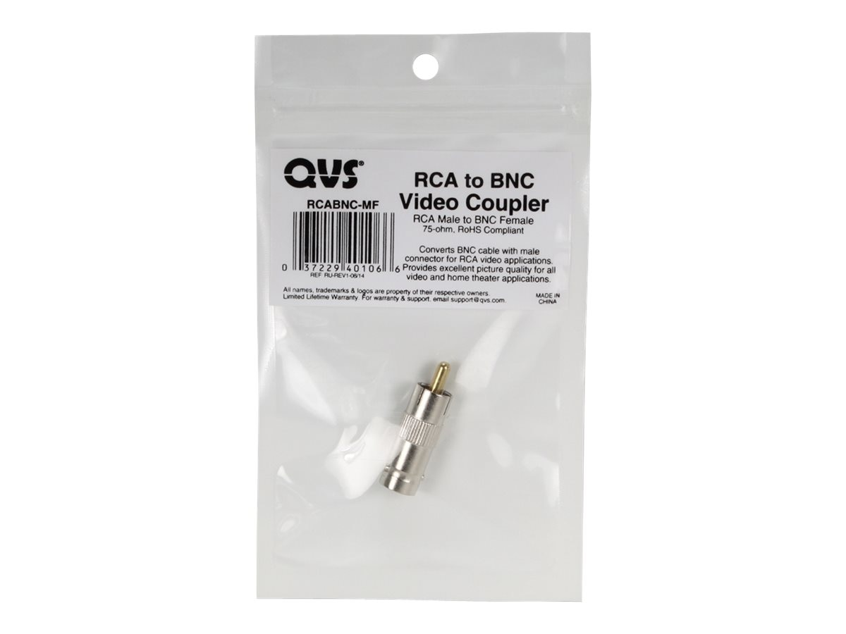 QVS RCA Male to BNC Female Coupler, RCABNC-MF, 18118576, Cable Accessories