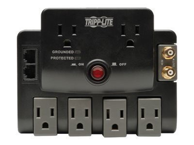 Tripp Lite Surge Protector 120V (6) Outlets (4 Rotating) 1440 Joules 6ft Cord Phone Network Coax, TLP606RNET
