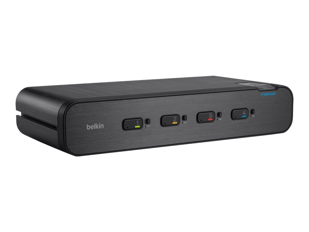 Belkin Advanced Secure Dual-Head DVI-I KVM Switch with DCU, 4-Port Plus, F1DN104H