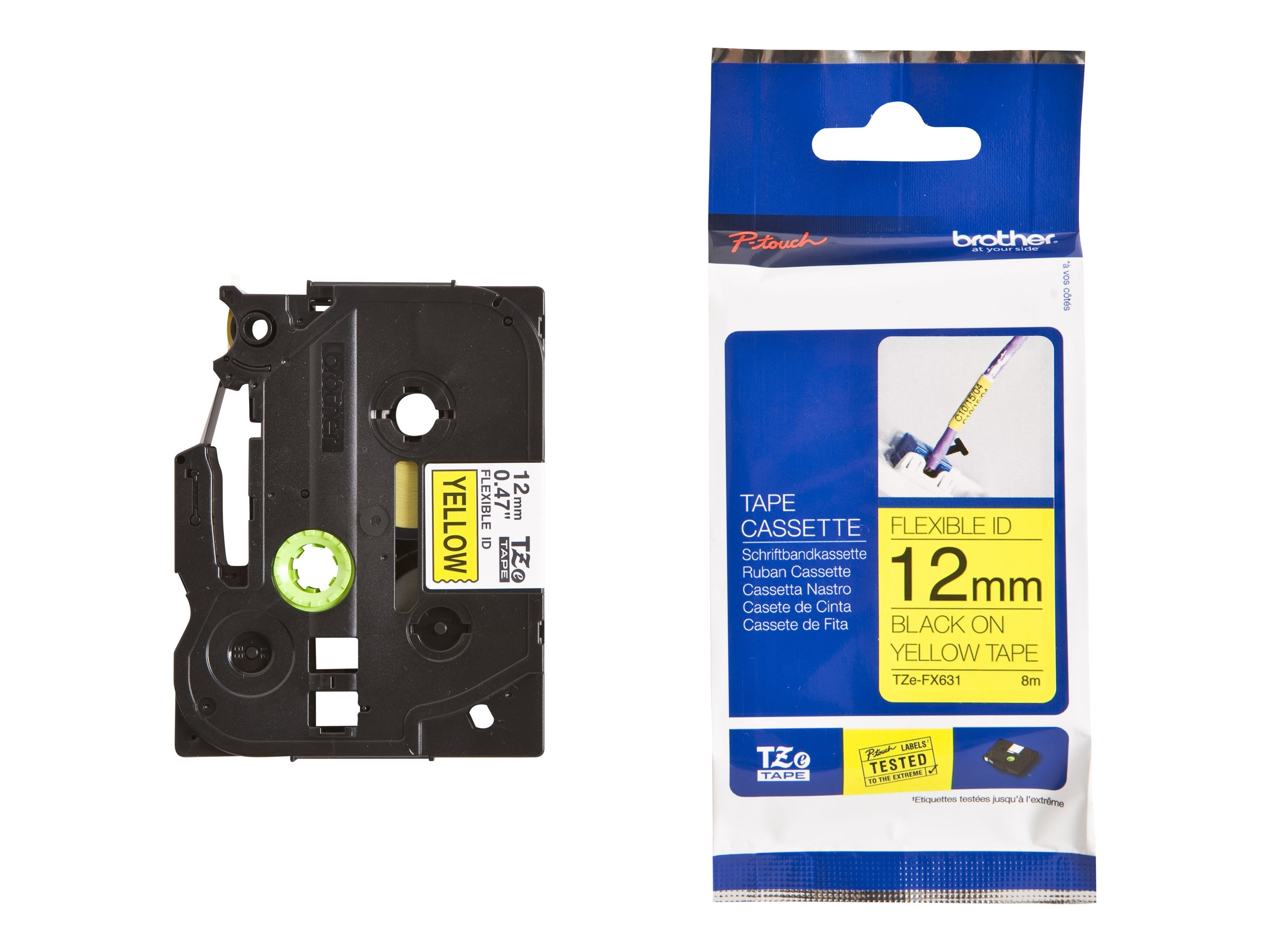 Brother 0.47 x 26.2' TZeFX631 Black on Yellow Flexible ID Tape, TZE-FX631, 13058308, Paper, Labels & Other Print Media