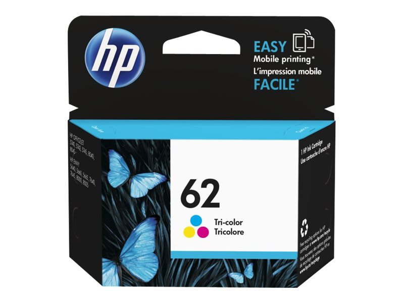 HP 62 (C2P06AN) Tri-Color Original Ink Cartridge, C2P06AN#140, 17462990, Ink Cartridges & Ink Refill Kits
