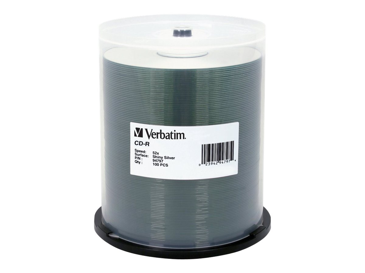 Verbatim CD-R 52X 80 MIN 700MB Shiny Silver, 100 Pack Spindle, 94797, 4895972, CD Media