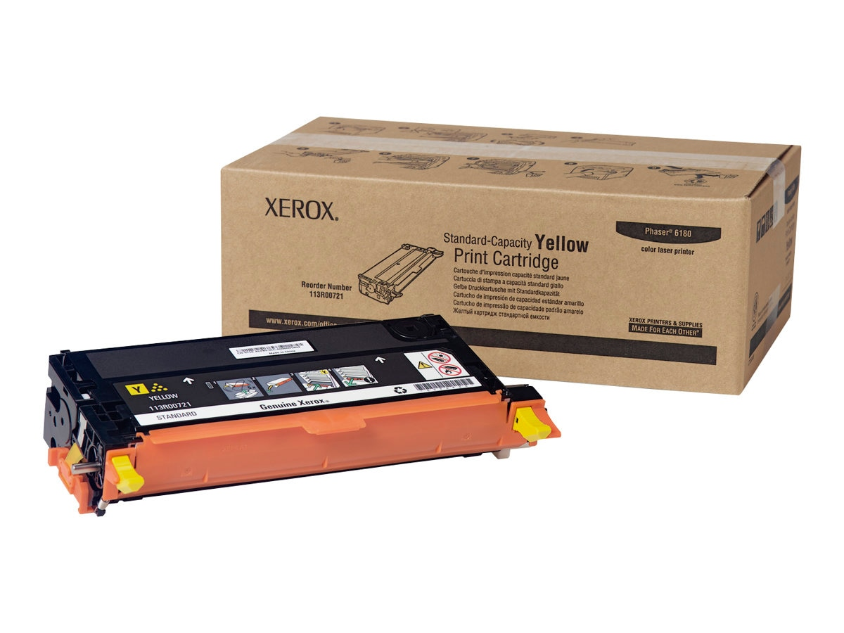 Xerox Yellow Toner Cartridge for Phaser 6180 Printers, 113R00721, 7438152, Toner and Imaging Components