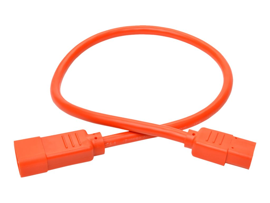 Tripp Lite Heavy Duty Power Extension Cord, 15A, 14AWG IEC-320-C14 to IEC-320-C13, Orange, 2ft, P005-002-AOR