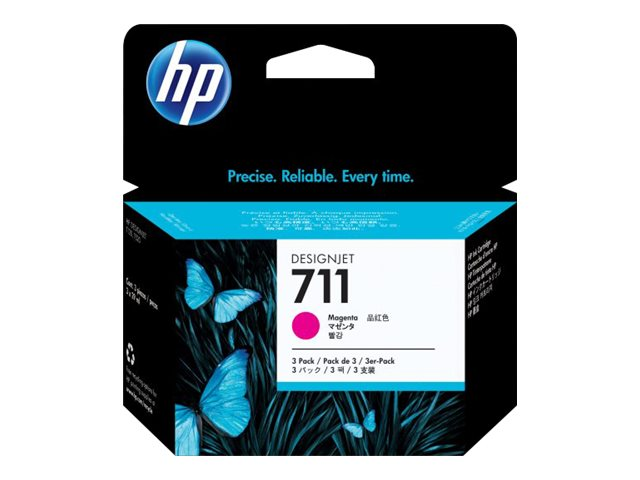 HP 711 (CZ135A) 29-ml Magenta Original Ink Cartridges (3-pack)