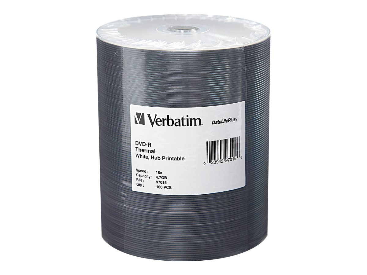 Verbatim 16x 4.7GB White Thermal Hub Printable DVD-R Media (100-pack Tape Wrap), 97015, 10361854, DVD Media