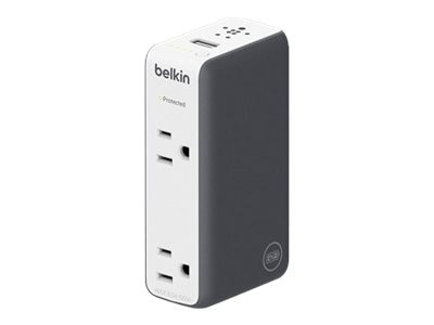 Belkin Travel RockStar 3-in-1 Battery Pack 3000mAh + USB Charger 2A + Surge Protector 615 Joules, BST301TT