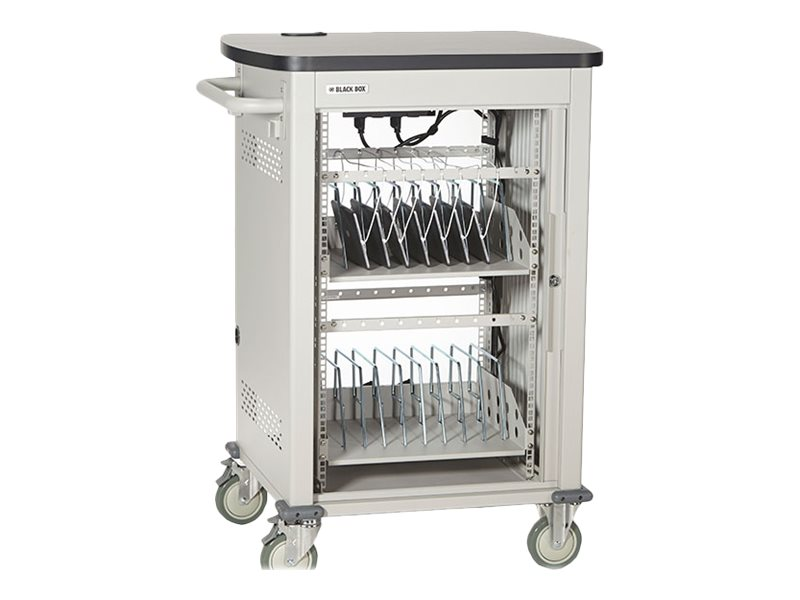 Black Box 24-Device Deluxe Intelligent Charging Cart, Single Frame with Medium Slots, Sliding Door, UCCSM-12-24T-ILC