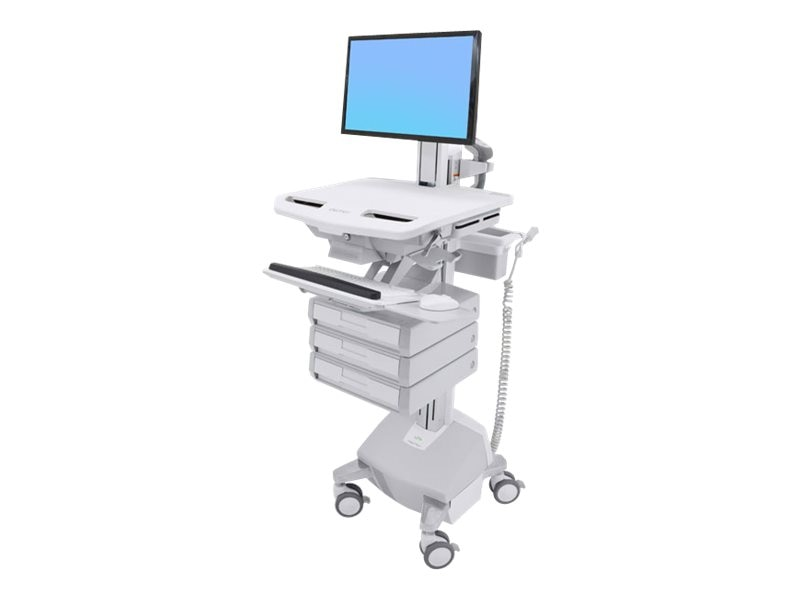 Ergotron StyleView Cart with LCD Pivot, LiFe Powered, 3 Drawers, SV44-1332-1, 31498323, Computer Carts - Medical