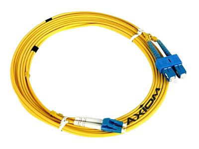 Axiom Fiber Optic Cable, LC-SC, 9 125, Duplex, SM, 9m, LCSCSD9Y-9M-AX