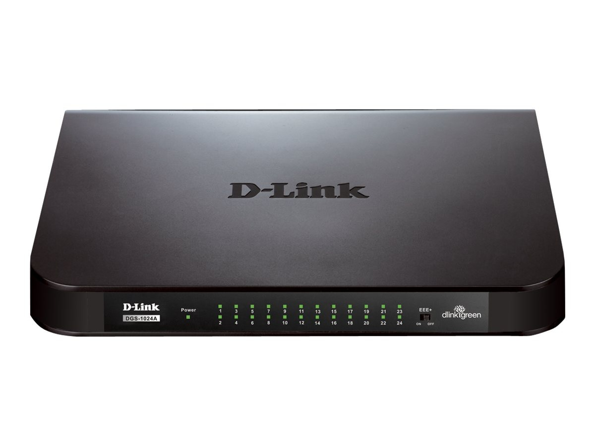 D-Link 24-Port Gigabit Desktop Switch 10 100 1000 Plastic, DGS-1024A